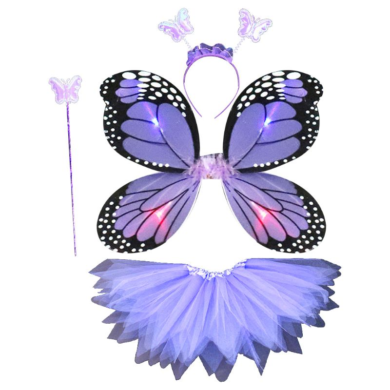 Adult Kids 4Pcs Fairy Costume Set LED Simulation Butterfly Wings Pointed Tutu Skirt Headband Wand Princess Girls Party Dress Up