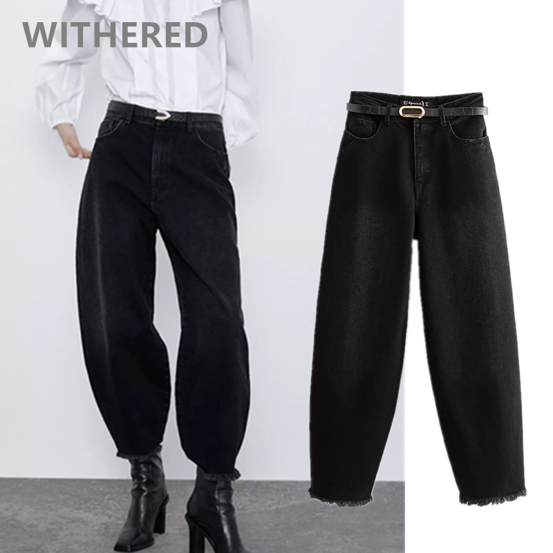 Withered England High Street Vintage Mom Jeans Woman High Waist Jeans Loose Burrs Ripped Jeans Women Boyfriend Jeans For Women