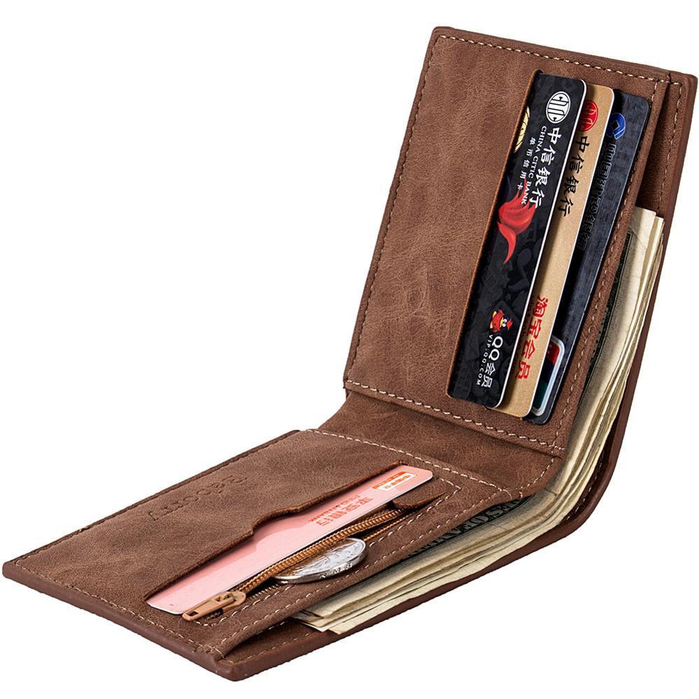 Mens Wallet Leather Short Wallets Vintage Male Purse Wallet Zipper Coin Purse Coin Pocket Money Bag Credit Card Holder