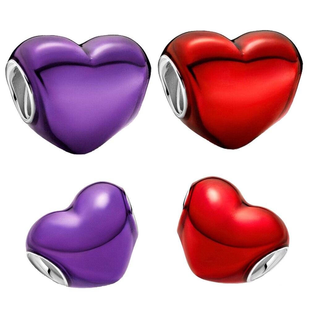 2021 novo 925 contas de prata esterlina metálico roxo vermelho coração encantos caber original pandora pulseiras feminino jóias diy