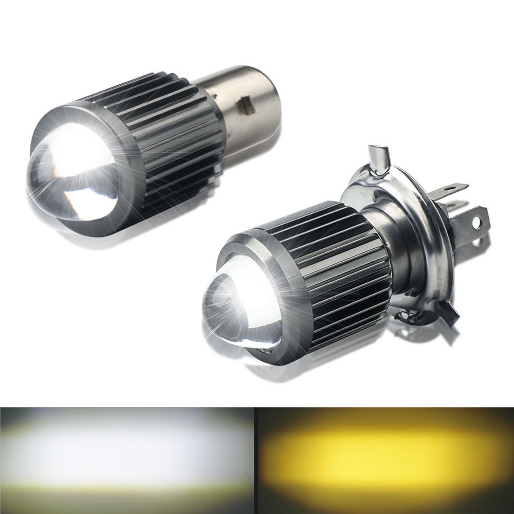 1Pcs H4 COB LED Motorcycle Headlight Hi//Low Beam Head Light with Lens