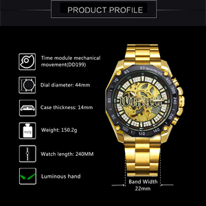 Image 3 - WINNER Official HIP HOP Golden Automatic Watch Men Diamond Iced Out Skeleton Mechanical Watches Brand Luxury Punk Wristwatches