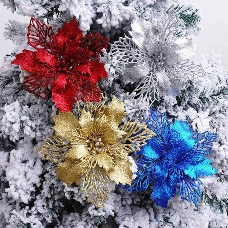1 Pc Kunstbloemen Kerst Nep Bloemen Glitter Vrolijke Kerstboom Ornamenten Xmas Decoraties Voor Huis Nieuwe Jaar