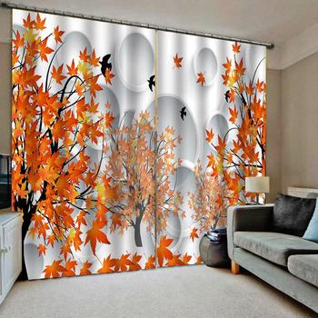 Autumn Scene Theme Shower Curtain  Maple leaf circle for living room bedroom blackout curtains