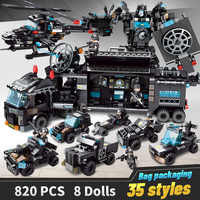 820 шт., строительные блоки, робот, городская полиция, игрушки для мальчиков, автомобиль, самолет, обучающий грузовик, блоки, совместимые с LegoED,...