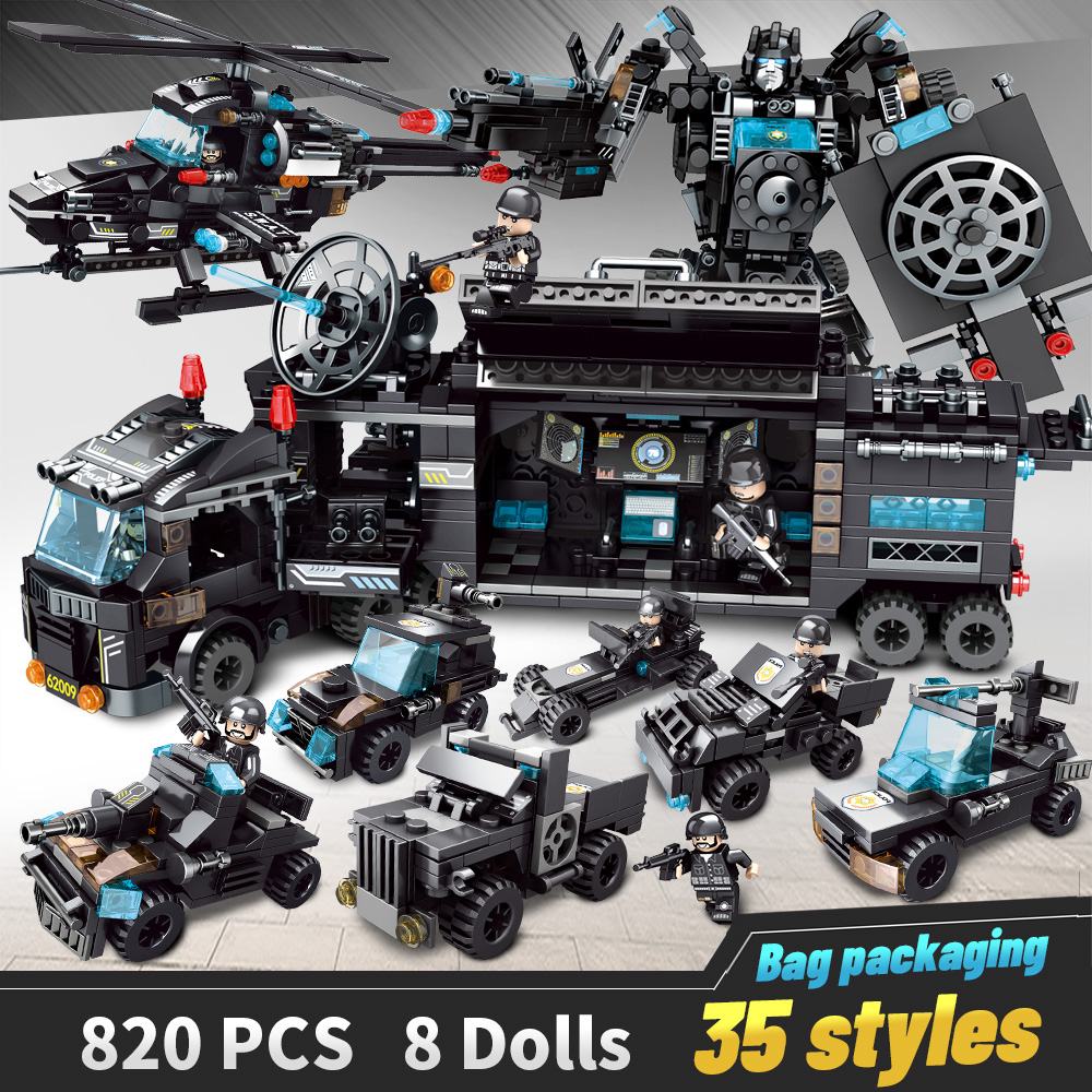 820 PCS Building Blocks Robot City Police Toys For Boys Vehicle Aircraft Educational Truck Blocks Compatible LegoED Model Bricks
