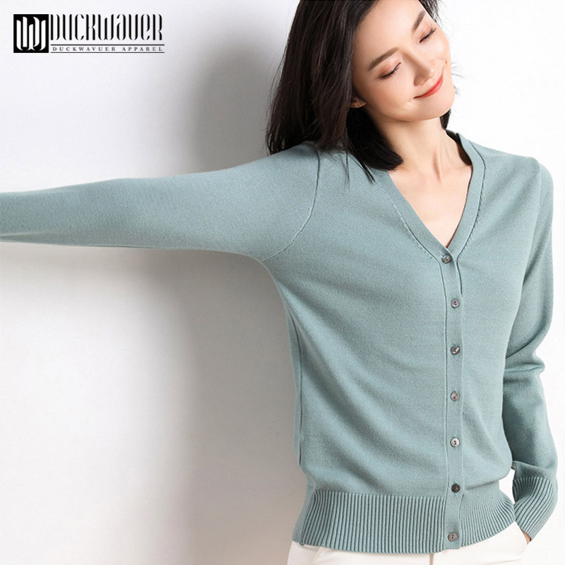 Duckwaver 2020 Women Cardigans Sweater V Neck Solid Loose Knit Single Breasted Casual Knit Cardigan Outwear Winter Jacket Coat