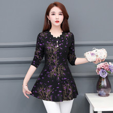 Womens Clothing Long Shirts 2019 New Autumn Bottom Blouses shirts printing sleeve Purple Flower Women Tops 804i6