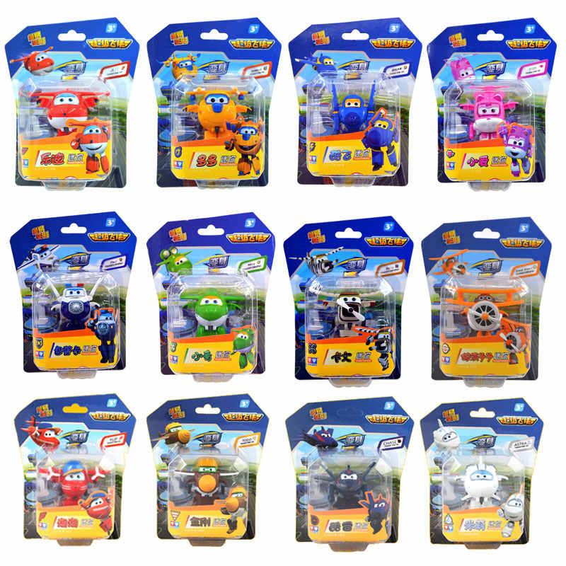 Superalas Mini avión Robot de ABS juguetes figuras de acción Super Wing transformación Jet animación niños regalo Brinquedos
