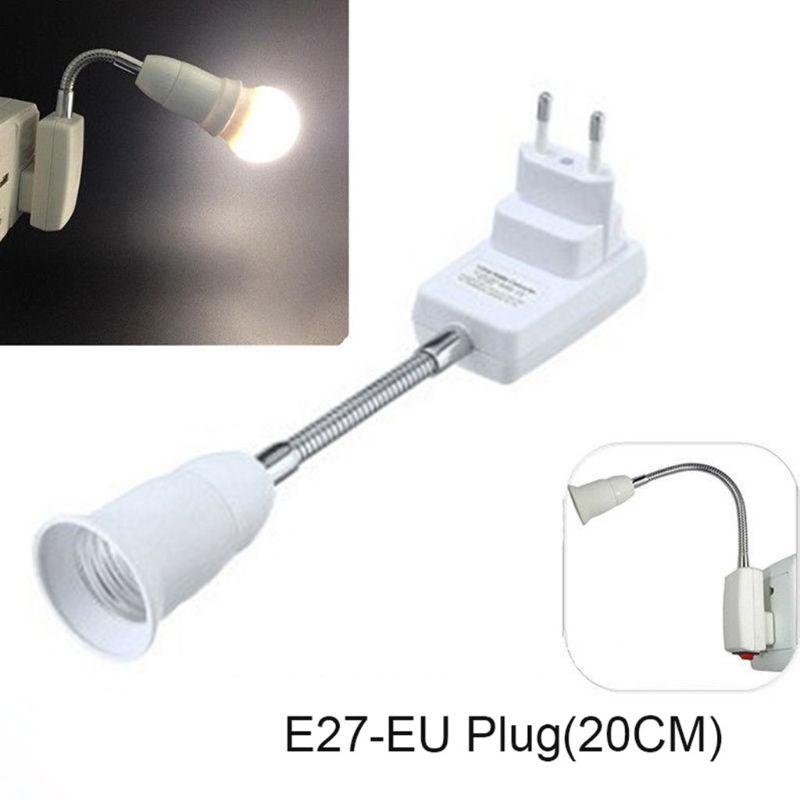 Adaptador de enchufe de la UE E27 con interruptor de encendido/apagado, bombilla de luz para todas las direcciones