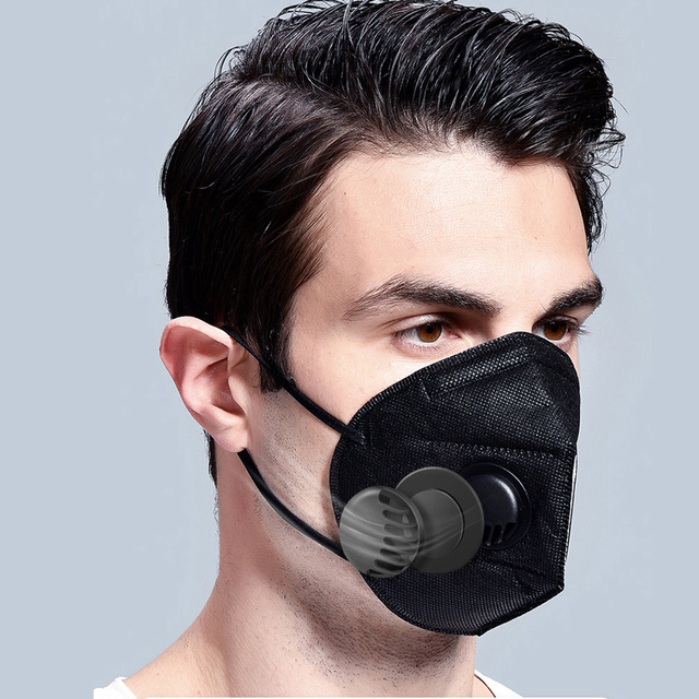 10Pcs KF94 Face Mask Reusable PM2.5 Filter Mouth Masks With Breathing Valve Bacteria Proof Flu Protect Black kf94 Respirator 2