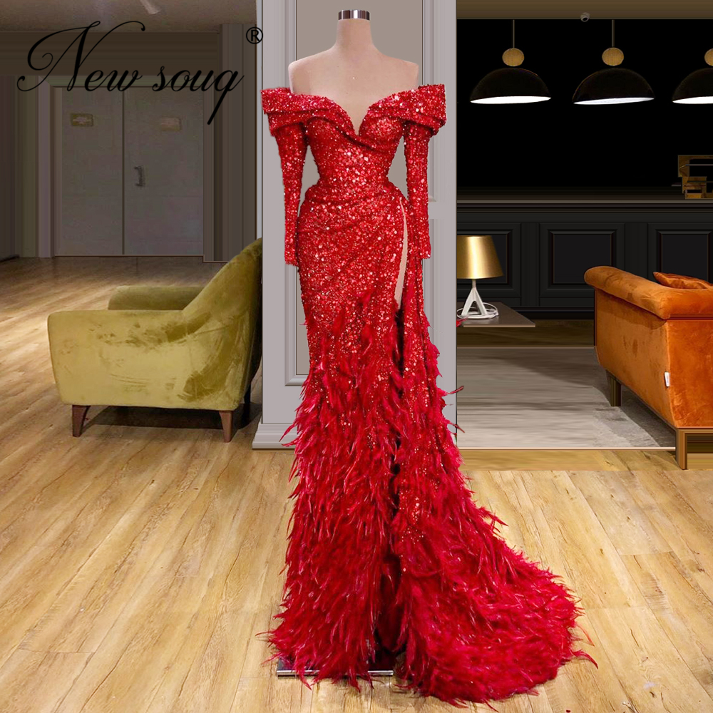 Red Fabric Formal Gown Dubai Design Glitter Feathers Evening Dresses 2020 Custom Made Off The Shoulder Women Gowns Middle East