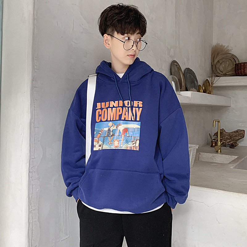Fall Vintage Cartoon Aircraft Print Mens Hoodies Harajuku Anime Oversized Warm Sweatshirt Black Hip Hop Joker Couple Hoodies
