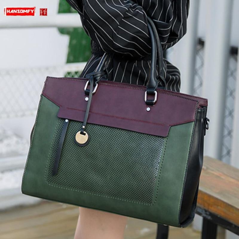 Luxury Fashion Women Handbag Document Shoulder Slung Tote Bag Female 14 Inch Laptop Briefcase Leather Messenger Crossbody Bags