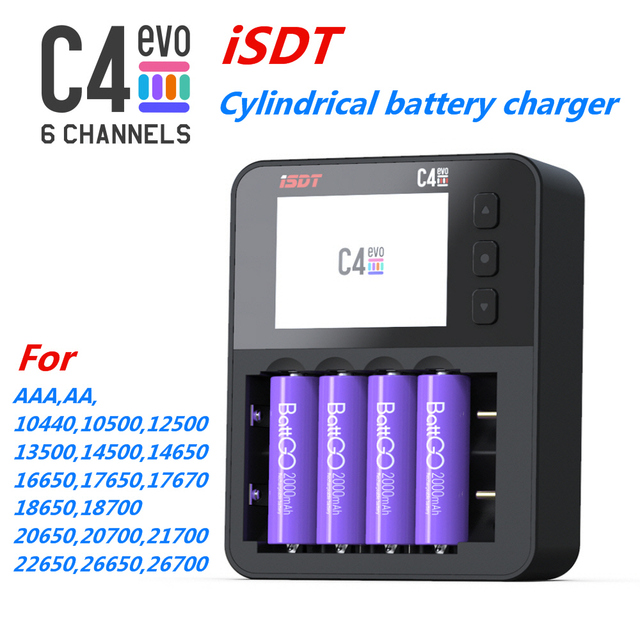 ISDT C4 EVO Smart Battery Charger With USB Output For 18650 26650 AA AAA Battery RC Models
