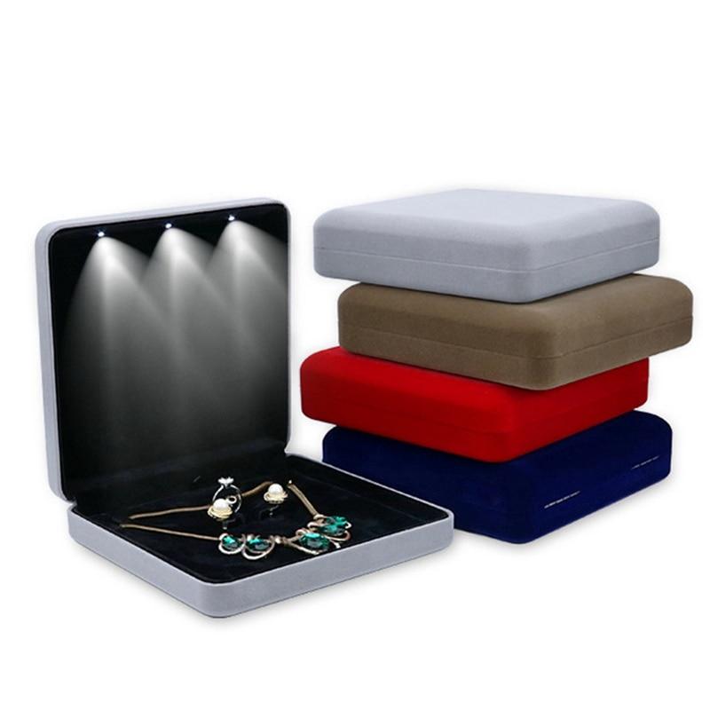 18x18x4.4cm Velvet LED Jewelry Box Necklace Earring Ring Gift Box Jewellery Set Display Storage Case