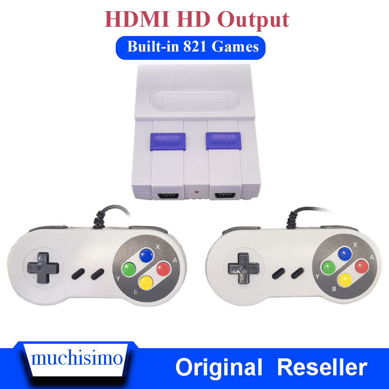 Mini HD HDMI TV Video Game Console Handheld Retro Game Console Built-In 821 Classic For SNES Games With Dual Gamepad