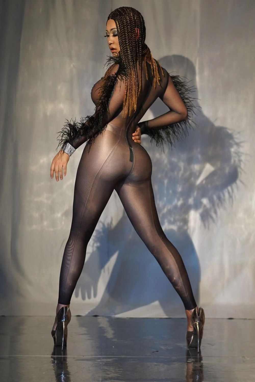 بذلة نسائية جذابة باللون الأسود بأحجار الراين وأكمام طويلة بدلة للراقصة والحفلات الراقصة ملابس ملائمة لحفلات أعياد الميلاد والنوادي الليلية