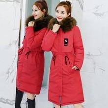Winter Long Jacket Women Korea Double Style Cotton Coat Female Big Fur Collar Ladies Clothing Thickening Slim Parka Plus Size цены онлайн