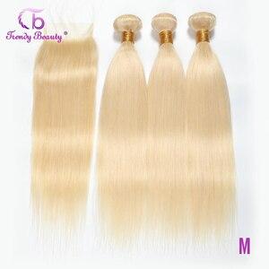 Перуанские прямые волосы 613 блонд 3 пучка с закрытием 4x4 дюйма Remy наращивание волос 10-24 дюйма Бесплатная доставка