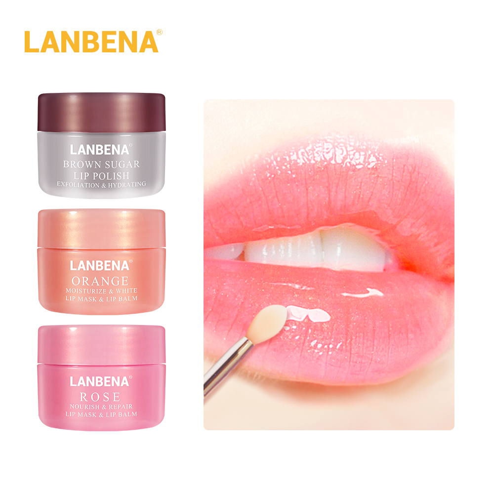 LANBENA Lip Plumper Mask Moisturizing Rose Pink Orange Oil Lighten Lines Brown Sugar Scrub Nourish Night Sleep Maintenance Cream