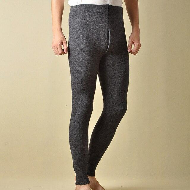 Gorąca sprzedaż spodnie męskie zagęścić męskie legginsy z dzianiny Cashmere ciepłe spodnie męskie 93 105 cm długości wełniane spodnie zima Knitting legginsy