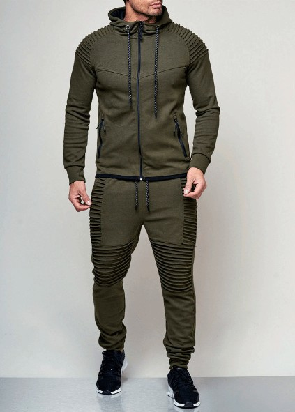 2019 Men New Style Outdoor Sports Casual Hoodie Cardigan Tops Casual Trousers Set Middle East Hot Selling
