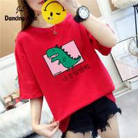 Camiseta de mujer, camiseta estampada para mujer, playera kawaii harajuku, camiseta de dibujos animados, camiseta de dinosaurio, camiseta de manga corta, ropa