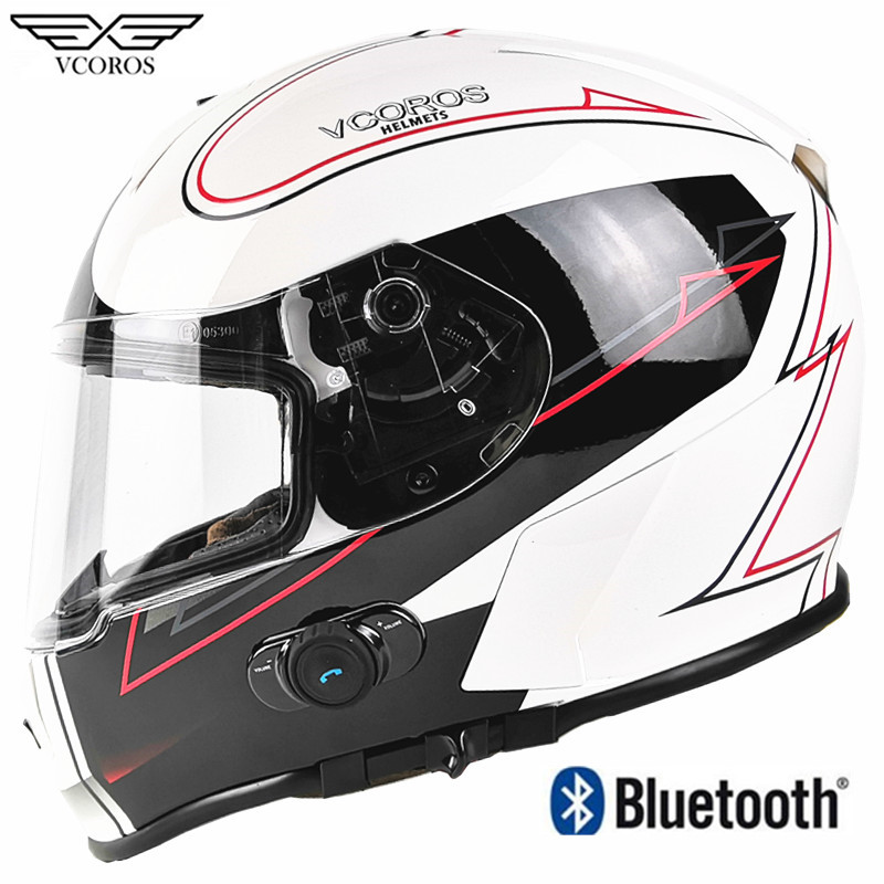 New Vcoros Built-in Bluetooth Full face motorcycle helmet Stereo Headphone Waterproof Wireless casco moto bluetooth Capacete