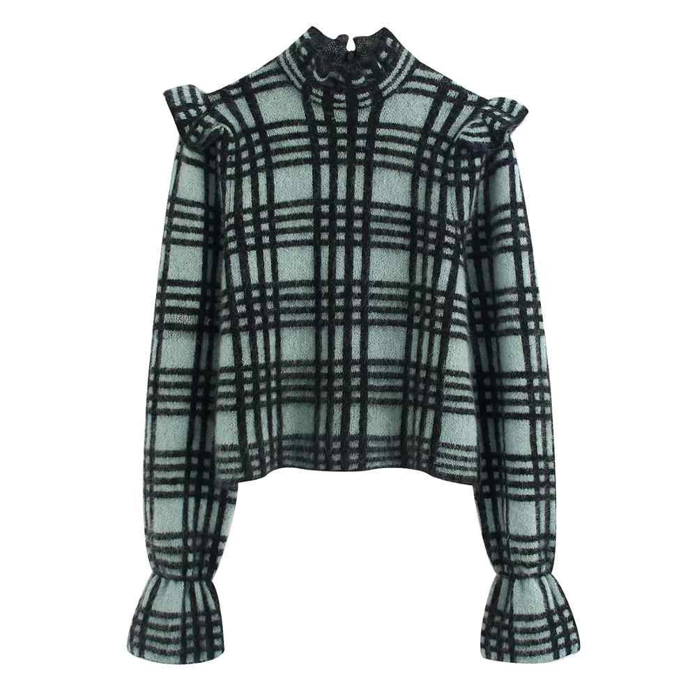 ZA nuevo suéter de mujer de primavera invierno turquesa a cuadros vestido trompeta con volantes manga acampanada suéter de punto mujeres pull Casual tops femeninos