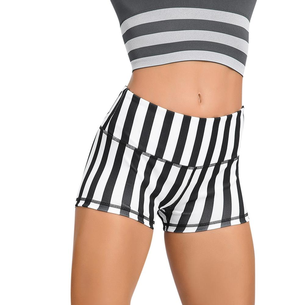 Women Summer High Waist Striped Yoga Shorts Casual Workout Sport Tight Cycling Short Sweatpants For Ladies 2019 New Fashion