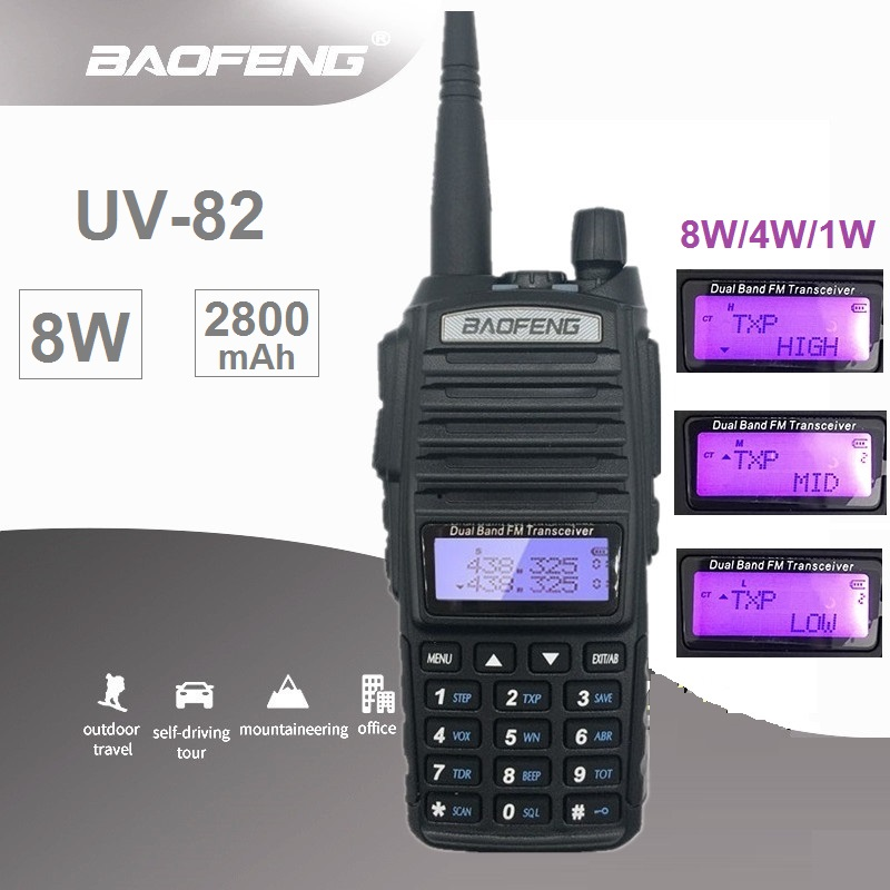 BAOFENG UV-82 8W HF Transceiver Radio Comunicador Powerful Walkie Talkie 10km Long Range UV82 UHF VHF UV 82 Ham CB Radio Scanner