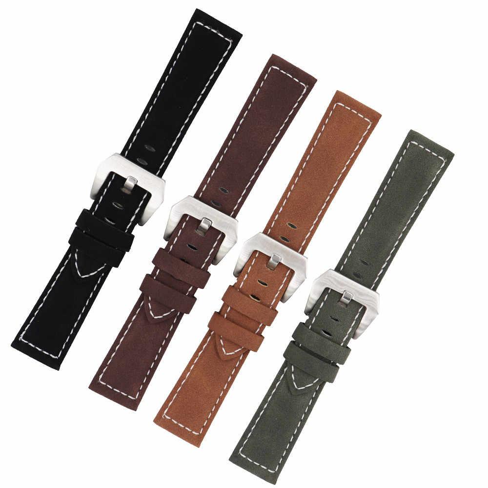 18mm 20mm 22mm 24mm esmerilado cuero genuino Correa hombres mujeres marrón negro Correa pulsera accesorios para Panerai