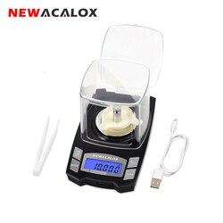 NEWACALOX 50g/100g x 0.001g USB charge bijoux Balance LCD numérique poche précision électronique Balance médicinal laboratoire Balance