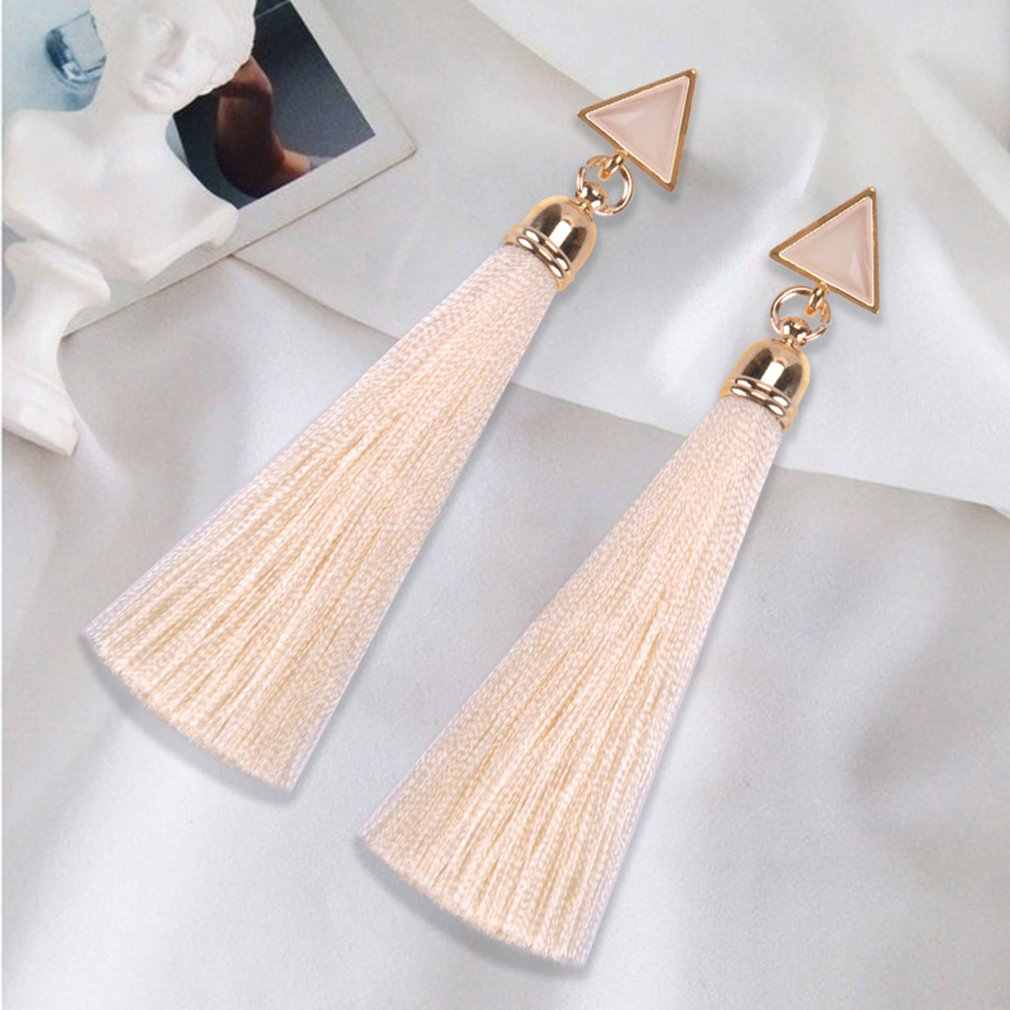Bohemian Crystal Long Tassel Earrings Black Blue Red Pink Silk Fabric Drop Dangle Earrings Women Jewelry For Party Beach