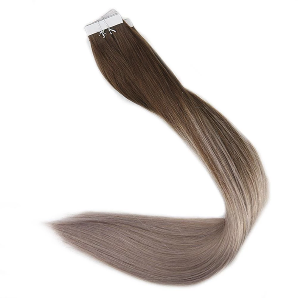 Full Shine Tape In Hair Balayage Color 100% Real Human Hair Extensions 20 Pcs 50g Seamless Tape On Hair Machine Made Remy