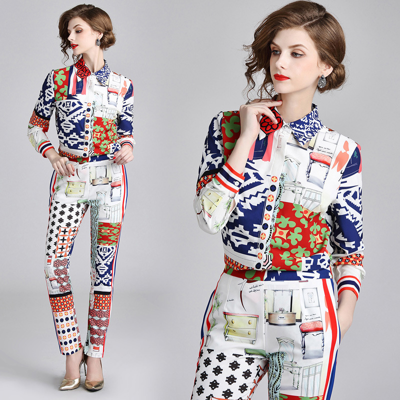 2018 Early Autumn New Products Abstract Geometry Graphics Printed Fold-down Collar Long-sleeve Blouse + Skinny Pants Fashion Lei