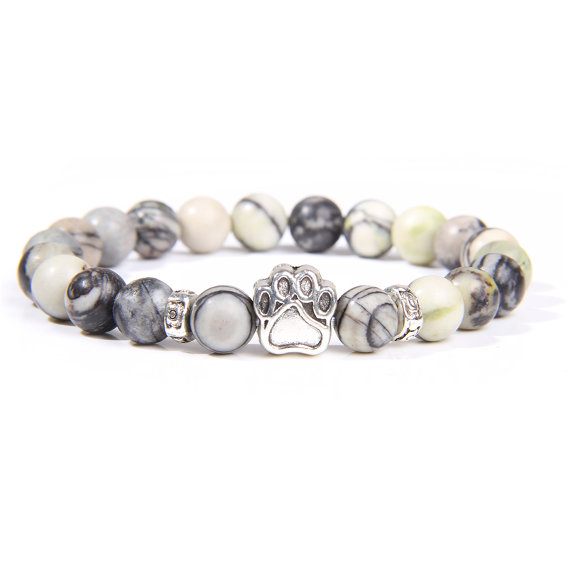 Antique Silver Color <font><b>Dog</b></font> Cat <font><b>Paw</b></font> Print Charm <font><b>Bracelet</b></font> Natural Network Stone Beads <font><b>Bracelet</b></font> Men Women Couple <font><b>Bracelet</b></font> Jewelry image