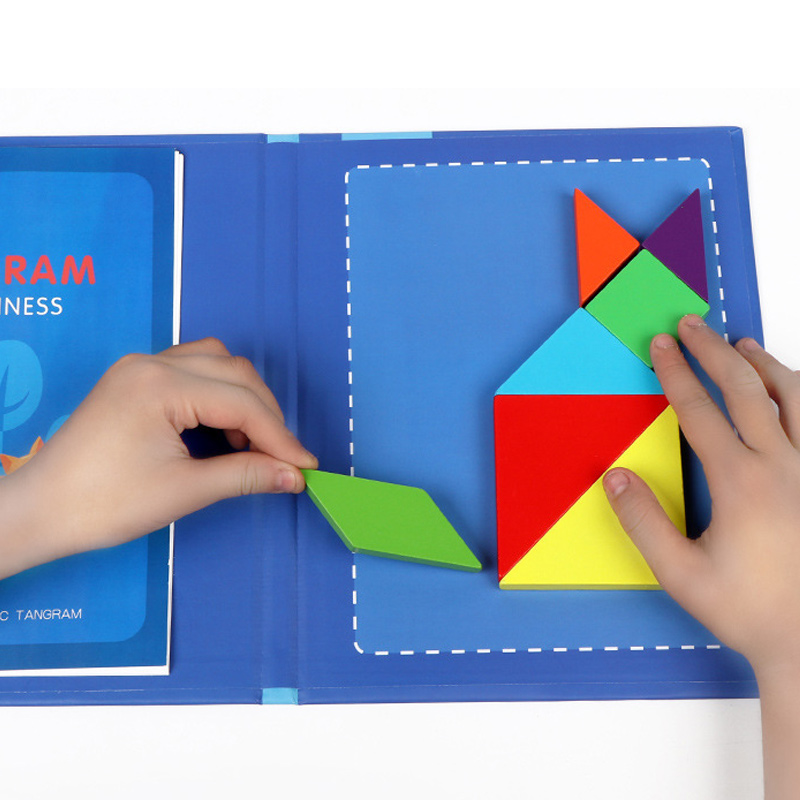 Magnetic Tangram Puzzle Book Portable Preschool Baby Kids Toys Intelligence Jigsaw Puzzle Wooden Educational Toys for Children 4