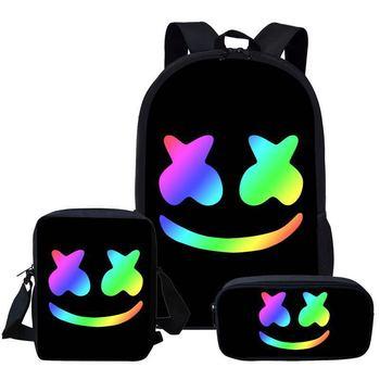 3PCS Backpack Pencil Case Shoulder DJ School Bag High Quality Student Backpacks Teenager Travel Bag Birthday Gifts dj bag palmin u 15