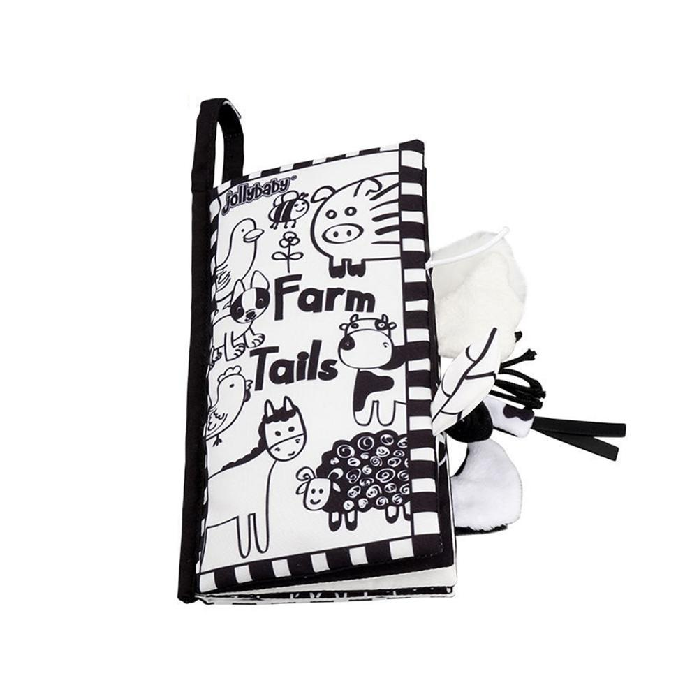 Baby Cloth Book Early Education Teaching Aid Black White Tail Cloth Book Toddler Kids Visual Cloth Book Interaction Games Toy
