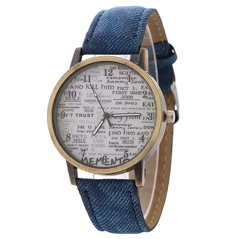 Newspaper Pattern Women's Watch Europe And America Sell Vintage Jeans Quartz Watch Fashion Watch Designer Brand Luxury Women