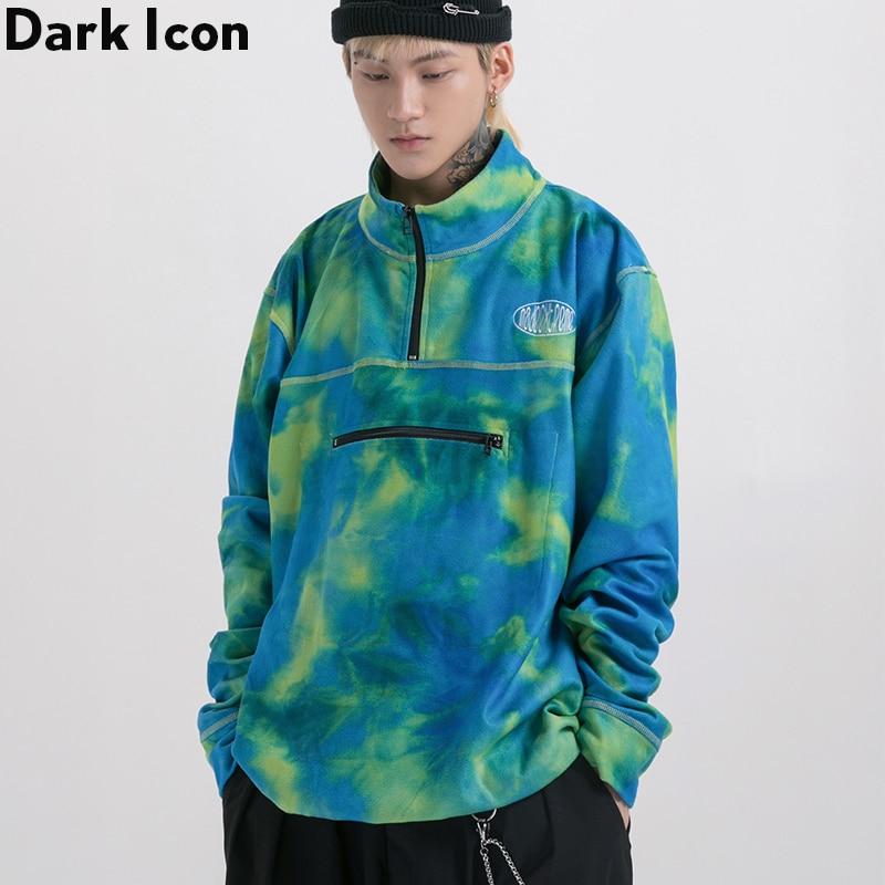 Dark Icon Tie Dye Front Half Zipper Mens Sweatshirt Fleece Pullover Sweatshirts Men 2Colors