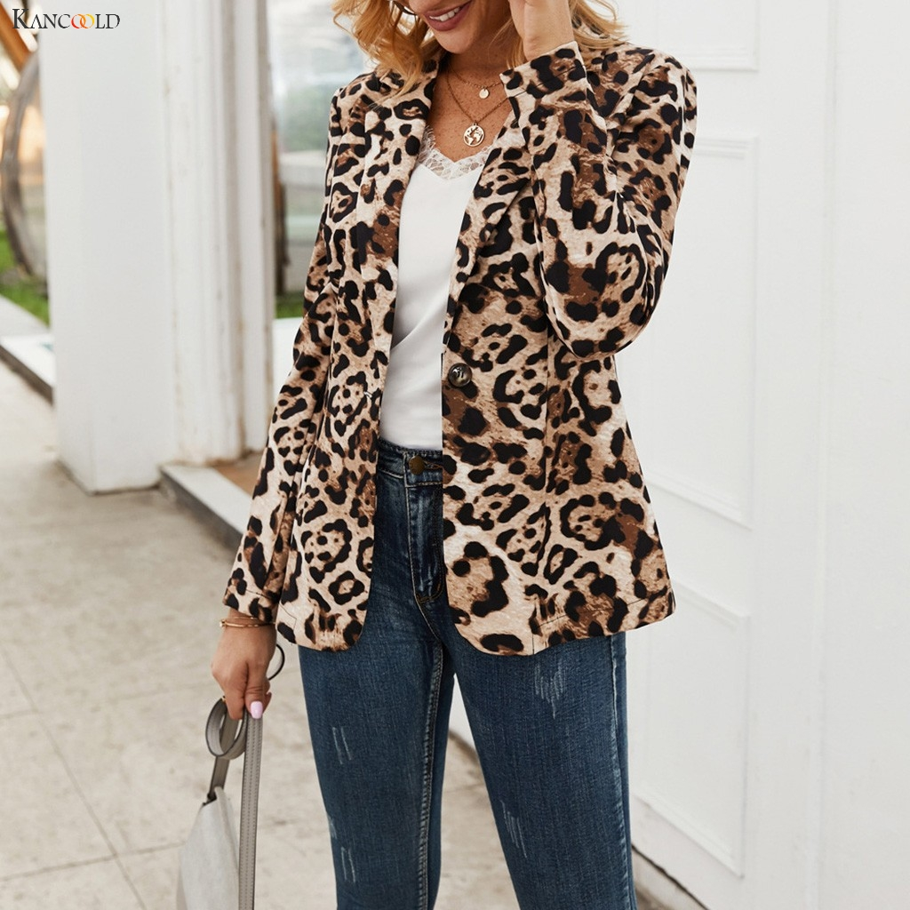 KANCOOLD coats Women Autumn Winter Handsome Leopard Printed One Button Suit Jacket Coat fashion coat and jackets women 2020Oct30