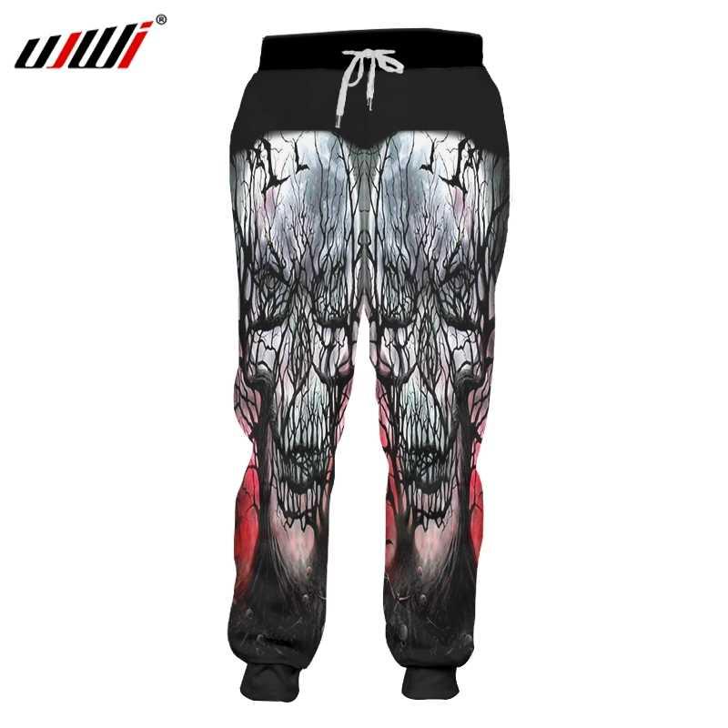 UJWI marka czaszki mężczyźni/kobiety szkielet drukowane spodnie biegaczy 3d drukuj czarne spodnie zwierzę jesień jesień zima Casual Unisex