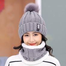 Warm Winter Hat Skullies Beanies Hats Female knit Letter Hats For Women Wool Neck Scarf Caps Balaclava Mask Gorras Bonnet