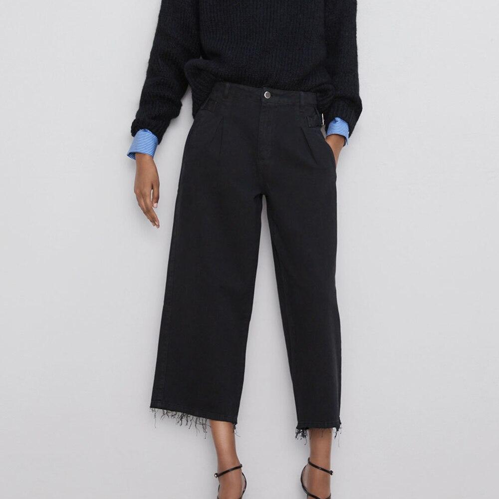 2019 ZA Autumn Fashion High Waist Wide Leg Jeans Ladies Vintage Fringe Casual Loose Chic Black Boyfriend Streetwear Jeans