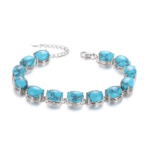 Bracelet Pierres Porte-Bonheur Turquoise Plat