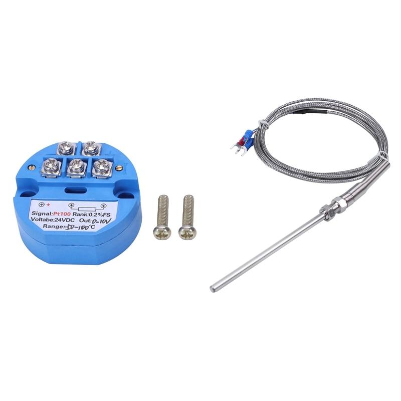 SHGO HOT-1Pcs RTD PT100 Temperature Transmitter DC24V Minus 50 - 100 Degree Output 0-10V & 1Pcs Steel Temperature Probe Pt100 RT