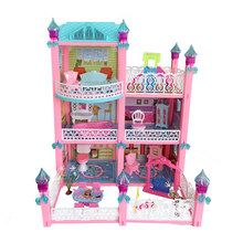 Girls Pretend Toy 3 Layer Handmade Doll House Castle DIY House Toy Miniature Dollhouse Birthday Gifts Educational Toys Big Villa